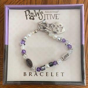 Beaded purple paw print bracelet